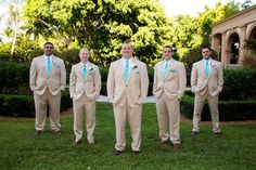 Tan suits with turquoise ties