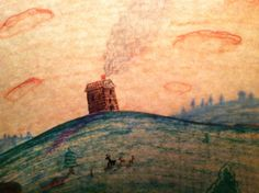 A house on a hill at sunset. Drawn with markers, illuminated from the back by a lamp.   #markers #illustrations