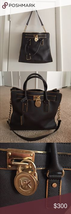 Michael Kors Hamilton Tote Hamilton • One year old • authentic • chocolate Brown • gold accent • great condition • no damage • make me an offer I can't refuse!? Michael Kors Bags Totes