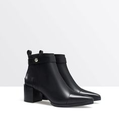 ZARA - WOMAN - High heel pointed leather ankle boot
