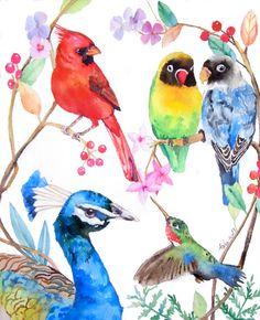 ooakBirds in the Tree Original Art 8 x 10 by asho on Etsy
