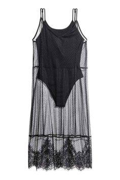 Платье из тюля с боди - Черный - Женщины | H&M RU