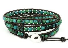 BLUEYES COLLECTION 'Amicable' Blue Mix Green Chrysocolla Gemstone Genuine Leather Bracelet, 3 Wraps >>> Hurry! Check out this great item : Jewelry