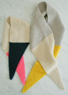 The Purl Bee - color tipped scarves
