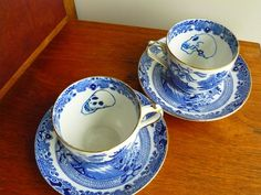 Skulls hand painted blue and white vintage by trixiedelicious