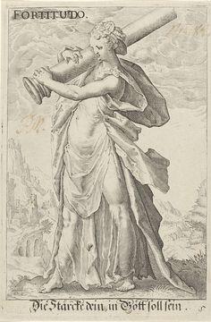 Anonymous | Kracht (Fortitudo), Anonymous, Hendrick Goltzius, 1587 - 1637 | De gepersonifieerde Kracht; een vrouwenfiguur met een gebroken zuil over haar rechter schouder. Op de achtergrond een heuvellandschap.