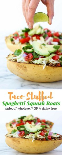 Taco Spaghetti Squash Boats bring you the taco flavors without the tortillas! They're loaded with protein and veggies and are paleo and Whole30 complaint! - Eat the Gains