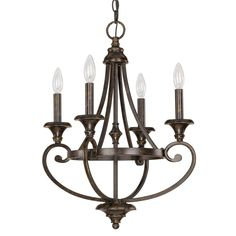 Four Light Chesterfield Brown Up Chandelier : TUVC | Lights Unlimited Inc.