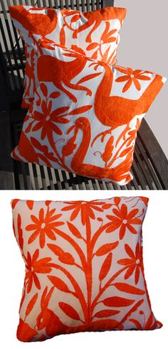 Beautiful hand embroidered pillows from Mexico.- like the bottom one