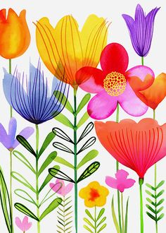 Margaret Berg Art : Illustration : florals / spring by TomiSchlusz Watercolor Cards, Watercolour Painting, Watercolor Flowers, Painting & Drawing, Watercolors, Art Floral, Motif Floral, Floral Wall, Art And Illustration