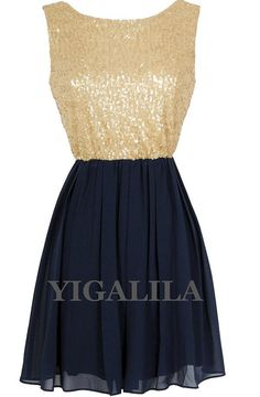 Lady dress/bridesmaid dress/wedding dress/strapless/gold sequins navy chiffon Dress/gold/navy on Etsy, $86.00