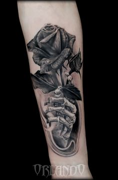 Rose Black Tattoo- Rose Skeleton Tattoo by Antonio Orlando- Orlando Tattoo Studio- Taurisano, Lecce- Italy