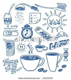 Morning doodles. Hand-drawn vector image. - stock vector