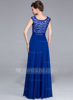 A-Line/Princess Scoop Neck Floor-Length Chiffon Lace Mother of the Bride Dress With Beading Sequins (008025760)