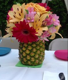 Roses, Oriental Lilies, Alstromeria in a #PineappleVase. Perfect for Summer or #Luau Decor - By Cindy Perez for Perez & Co.