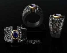 Boardroom meets Back Alley Big Sapphire wide ring. by DeMerJewelry, $8130.00