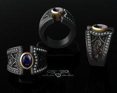 Boardroom meets Back Alley Big Sapphire wide ring. by DeMerJewelry Men's Jewelry Rings, Jewelery, Jewelry Accessories, Jewelry Design, Black Diamond, Diamond Cuts, Wide Rings, Love Ring, Black Silver