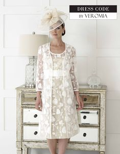 Dressed+Up+By+Veromia+Ivory+Lace+Dress+and+Matching+Flowered+Jacket  Size:+10-20+