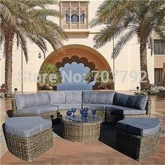New Arrival Outdoor Furniture Curved Mayfair Modular 7 Piece Rattan Sofa Set