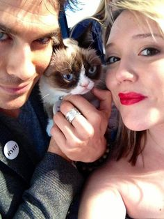 """Ian Somerhalder with friend Jessica Ramsey and the now famous """"grumpy"""" cat!"""