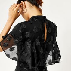 Warehouse, SOFT LUREX JACQUARD DRESS Black 4