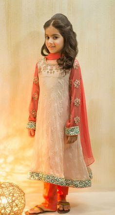 Buy Off-White/Peach Embroidered Chiffon/Net Dress by PakRobe.com