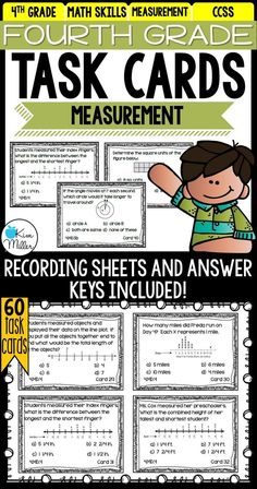 Easily reinforce math skills with these 60 task cards for 4th-grade Measurement and Data. These task cards are the perfect tool to use as the end of a unit for review. They are also easy to implement into math centers throughout the year. Other options include: math rotations, math groups, morning work, desk work, homework, summer review, and test prep.