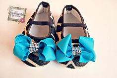 Baby Girl Crib Shoes,/giraffe print Baby Booties,baby shoes. turquoise bow baby shoes. on Etsy, $14.95