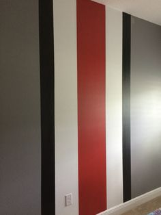 Osu Room Sherwin Williams Rave Red, Gray Shingle Satin on Best Room Ideas 3727 Ohio State Rooms, Ohio State Decor, Boys Bedroom Paint, Bedroom Red, Diy Wall Painting, Striped Walls, Geometric Wall, Paint Designs, Wall Design