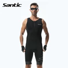 (Buy here: http://appdeal.ru/oxq ) Santic Triathlon Clothing Mens Cycling Jerseys Sleeveless Pad Quick Dry Cycling Skinsuit for Swimming Running Cycling M5C03007H for just US $73.66