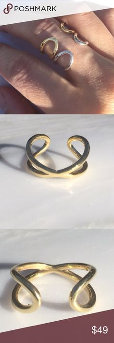 New! Spectacular Infinity Wrap Rings I absolutely adore these. Spectacular Infinity Wrap Rings. Size adjustable. White and yellow gold plated .925 Sterling silver. I have 2 yellow gold and one white gold plated. Amazing. ‼️Indicate color as you purchase. Fits a 6-8 finger easily with room to go larger or smaller when you pinch the sides together or pull apart. Buckle free. Made in the USA. Price FIRM. ❣These are very popular and sell quickly. 😊. Price is for one ring. Jewelry Rings