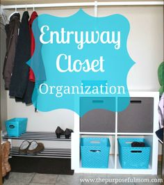 Entryway Closet Rescue | I enjoyed the bottle drying rack reused as a mitten drying rack.
