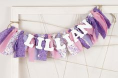 Purple, Pink and White Name Banner for Girl's Bedroom - Sophia the First - Birthday Party - Rag Banner - Garland - Photography Prop on Etsy, $22.00
