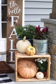 Our Fall Front Porch Fall Porch Decor Displays – Oh Hello Autumn Porch Sign – Pumpkins, Boxes, Farmhouse Porch – … Fall Home Decor, Autumn Home, Outdoor Fall Decorations, Thanksgiving Decorations, Fall Decor For Mantel, Fal Decor, Fall Mantels, Fall Fireplace Decor, Fall Decor Signs