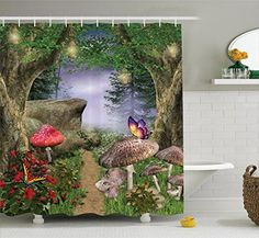 Mushroom Decor Shower Curtain by Ambesonne  Enchanted Nature Pathway Butterflies Fairytale Landscape Rocks Street Design Polyester Fabric Bathroom Decor Set with Hooks Beige Green Red and Lilac * You can find out more details at the link of the image.