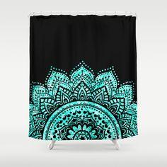 Black and Blue Teal Mandala Shower Curtain