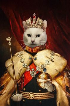 Did you know that you can make your pet the regal leader that he is in true, authentic artwork form? This portrait canvas print is going to absolutely astound any pet owner that wants to put their dog or cat on display for the world to see. Royal Animals, Iris Painting, Fancy Cats, Dog Poster, Cat People, Here Kitty Kitty, Cute Wallpaper Backgrounds, Cute Cats And Kittens, Gifts For Pet Lovers