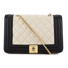 Love Moschino Women's Quilted Cross Body Bag - Black/Ivory (707.540 COP) ❤ liked on Polyvore featuring bags, handbags, shoulder bags, quilted handbags, black quilted handbag, crossbody purse, black handbags and black quilted shoulder bag