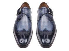 Paul Parkman Wingtip Single Monkstraps Navy – Styles By Kutty #ShoesForMen