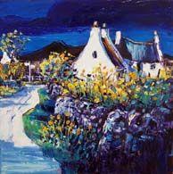 Lane in summer sun, Arran. Vibrant Colors, Colours, Arran, Summer Sun, Oil On Canvas, Landscape, Gallery, Painting, Scenery