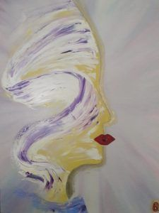 sometimes…the lips of a woman are the first to be seen …two worlds: the inside and the outside… shining on the outside depends on the inner emotions and the harmony of feelings  /oil on canvas /golden dust/ swarovski crystal /50x40x1.5