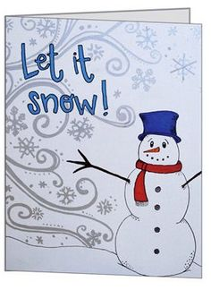 Let It Snow Snowman Holiday Greeting Card  Merry by Useless2Unique