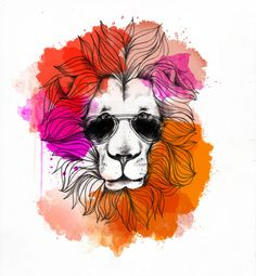 Summer Hipster Lion Removable Wall Sticker by LittleStickerBoy