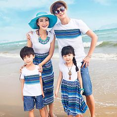 Sistemas de la ropa de la familia Verano Fino Microelástico - Algodón - Manga Corta – USD $ 34.99
