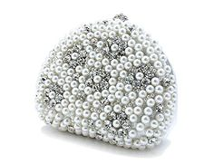 Tom Clovers New Women's Beautiful Pearls Fashion Clutch Evening Bag Party Purse Collection Bag Exquisite Pearl Beads Rhinestone Half-moon Handbag white
