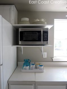 countertop microwave on shelf great for freeing up counter space -