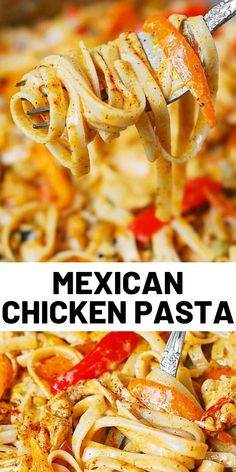 Mexican Chicken Pasta with bell peppers and green chiles, in a creamy Cheddar Mozzarella sauce. Mexican Chicken Pasta with bell peppers and green chiles, in a creamy Cheddar Mozzarella sauce. Mexican Chicken Pasta Recipe, Quick Chicken Recipes, Mexican Food Recipes, Dinner Recipes, Recipe Pasta, Recipe Chicken, Chicken Tacos, Pasta Dishes, Food Dishes