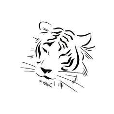 Pochoir tatouage tête de tigre