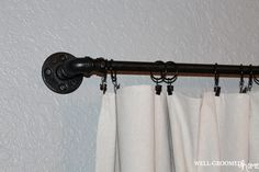 Industrial Vintage Office Make-Over; drapes made from painters drop cloth and DIY pipe curtain rod
