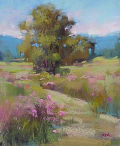 Mountain Meadow with pink Flowers by KarenMargulisFineArt